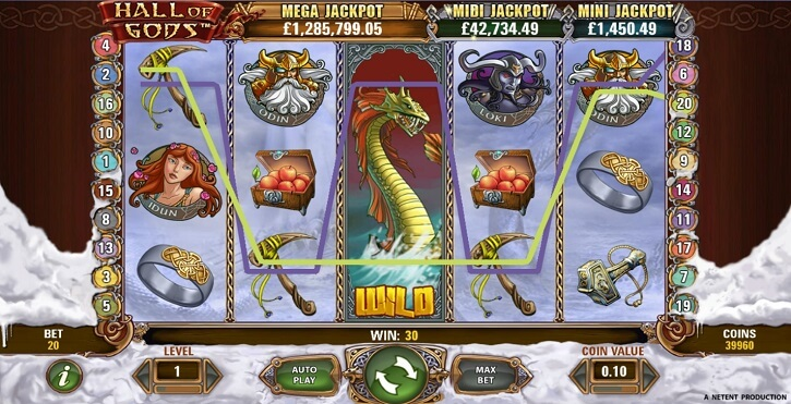 hall of gods slot screen