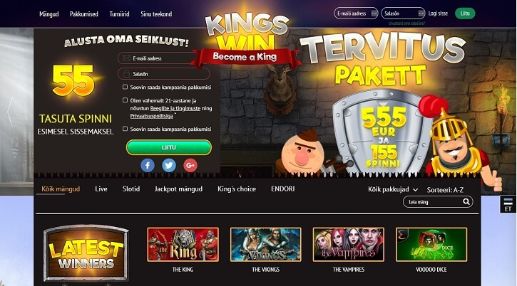 kingswin kasiino veebileht
