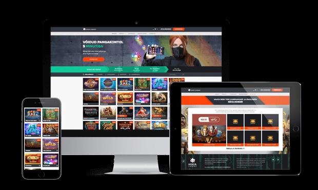 ninja kasiino website screens 2021