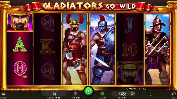 gladiators go wild slot screen