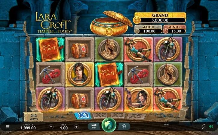 lara croft temples and tombs slot screen