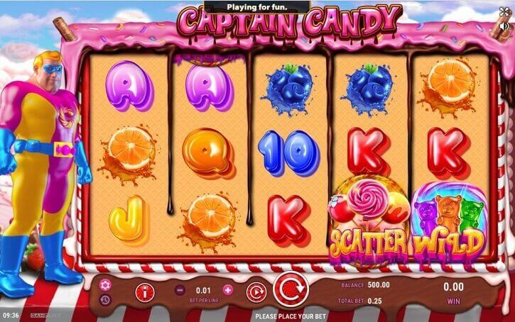 captain candy slot screen