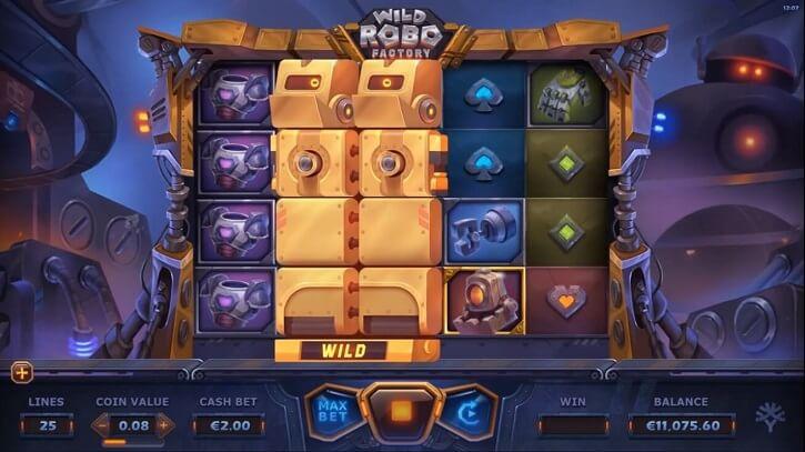 wild robo factory slot screen