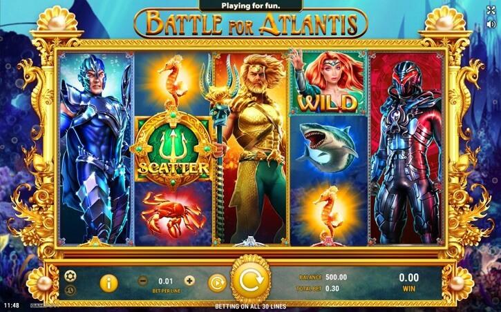 battle for atlantis slot screen
