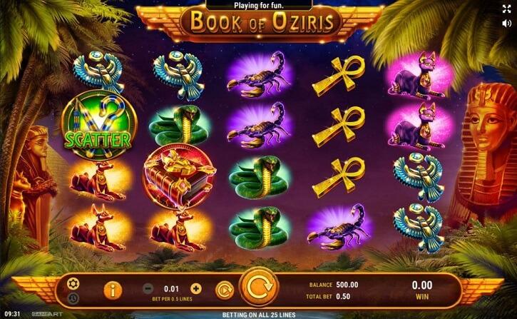 book of oziris slot screen