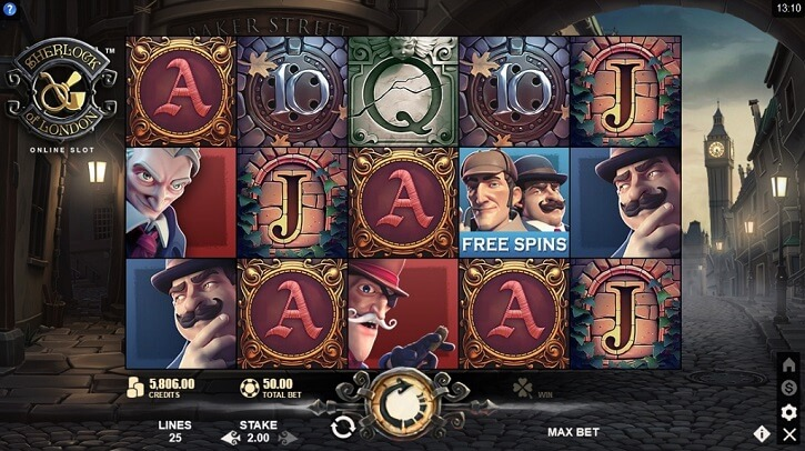 sherlock of london slot screen