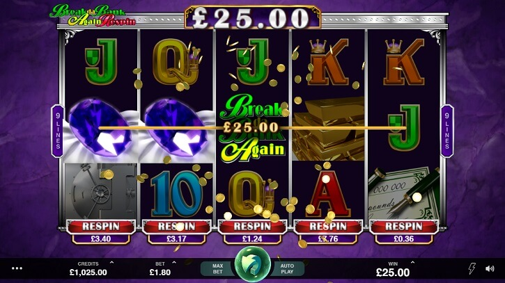 break da bank again respin slot micro screen