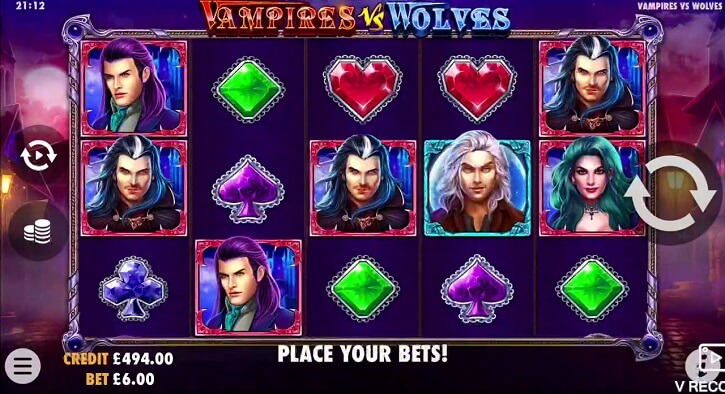 vampirer vs wolves slot screen