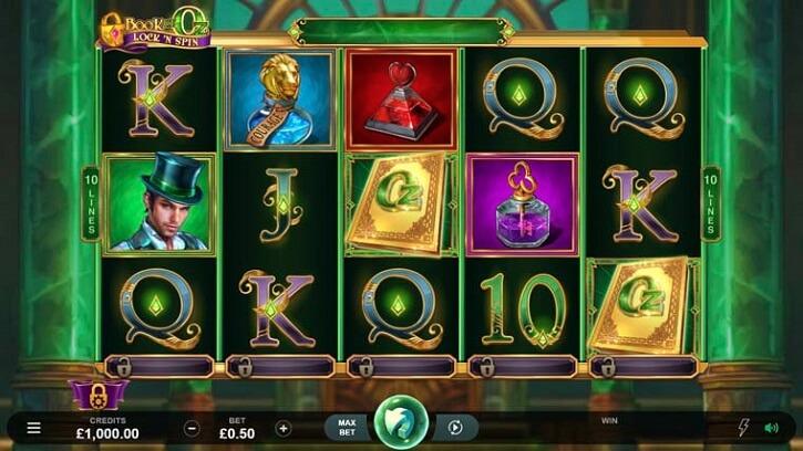 book of oz lock n spin slot screen