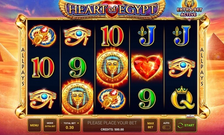 heart of egypt slot screen