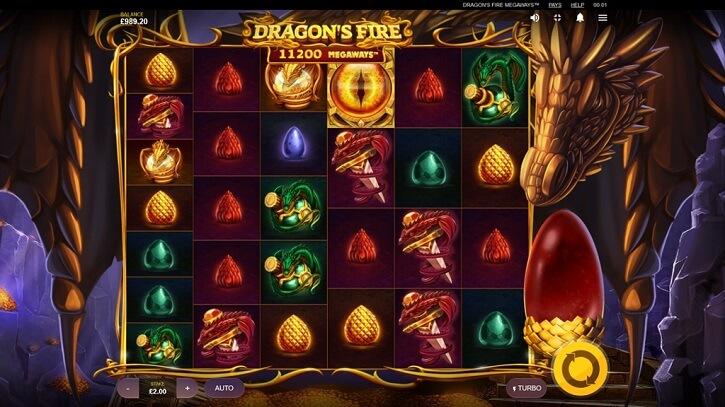 dragons fire megaways slot screen