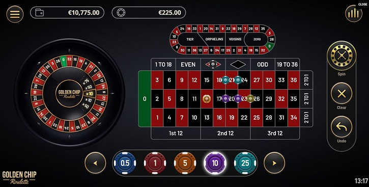 golden chip roulette screen