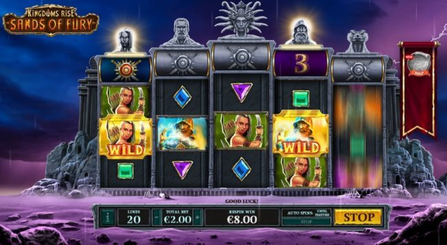 kingdoms rise sands of fury slot screen