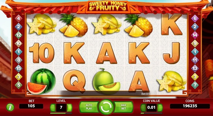 sweety honey fruity slot screen