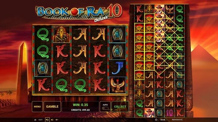 book of ra deluxe 10 slot screen