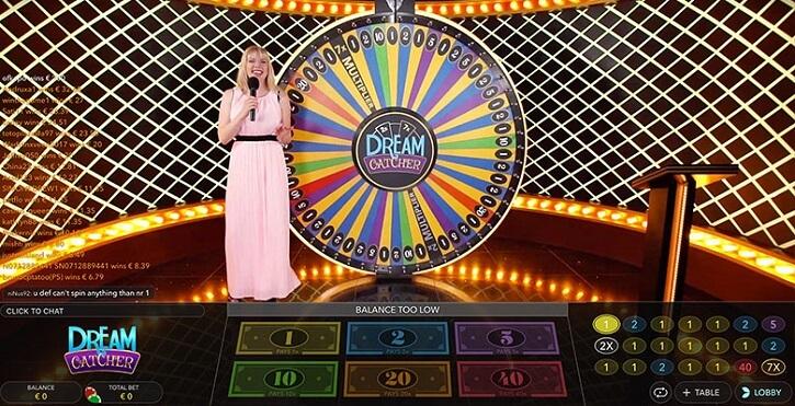 dream catcher live game screen