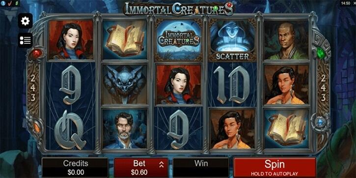 immortal creatures slot screen