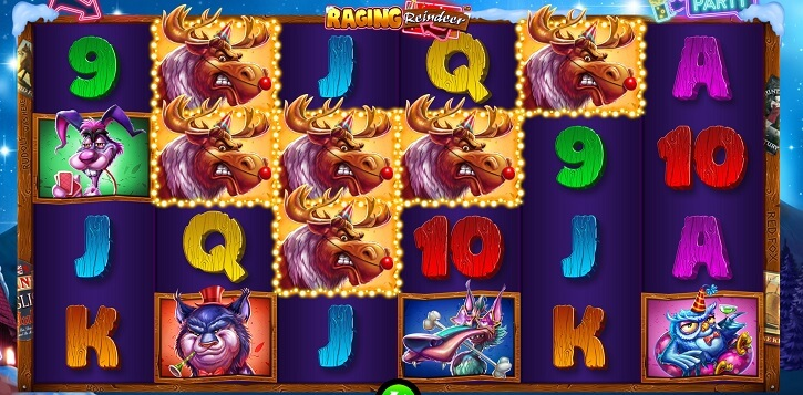 raging reindeer slot screen