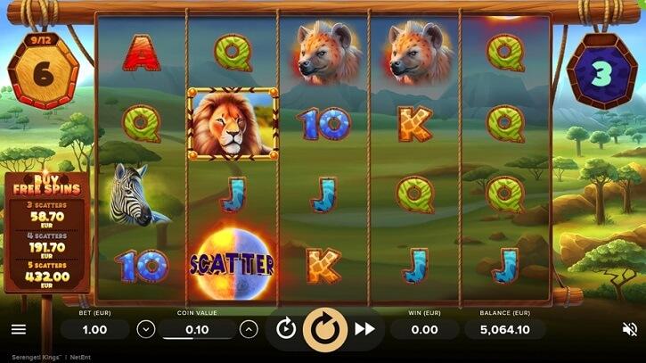 serengeti kings slot screen