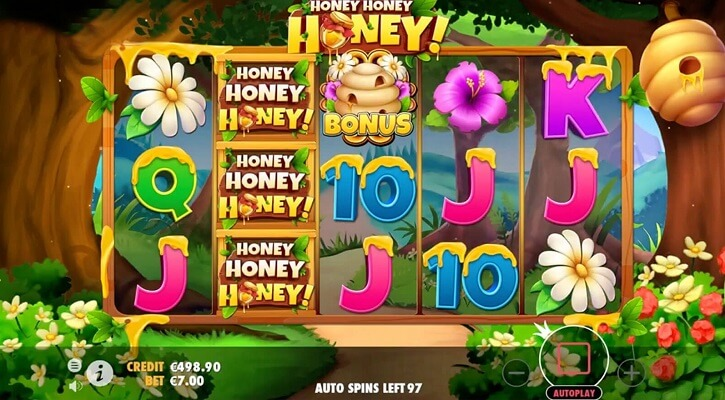 honey honey honey slot screen