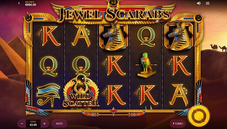 jewel scarabs slot screen