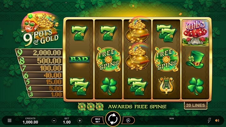9 pots of gold slot bonus