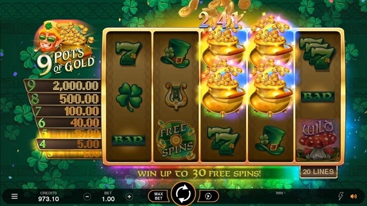 9 pots of gold slot screen