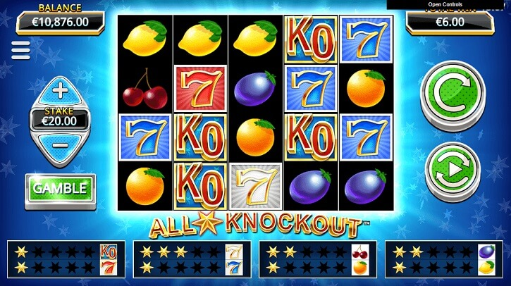 all star knockout slot screen