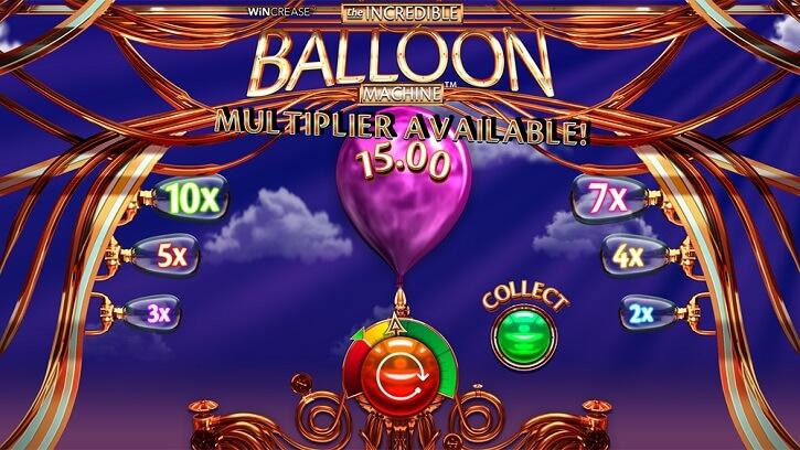 the incredible balloon machine slot screen