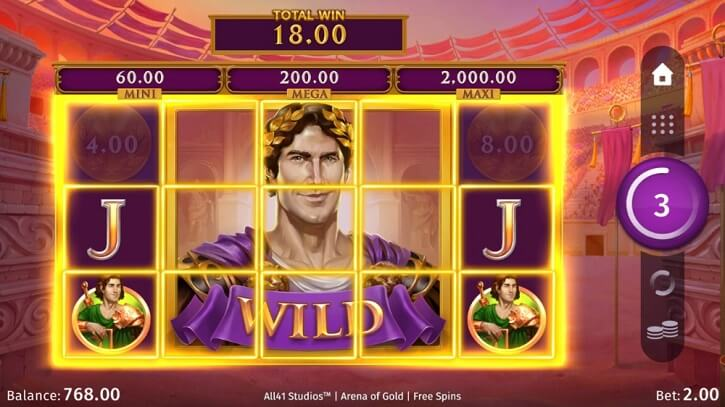 arena of gold slot bonus