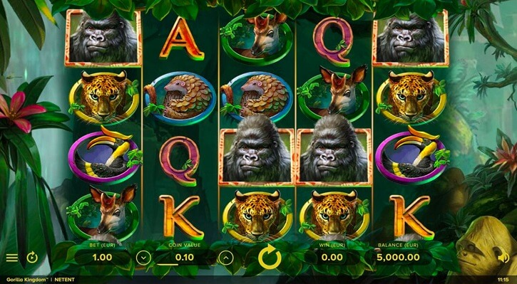 gorilla kingdom slot screen