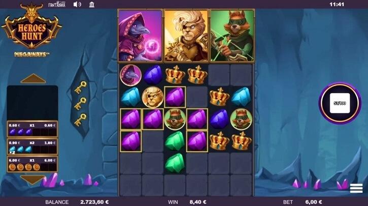 heroes hunt megaways slot screen