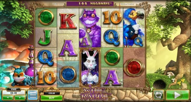 white rabbit slot screen