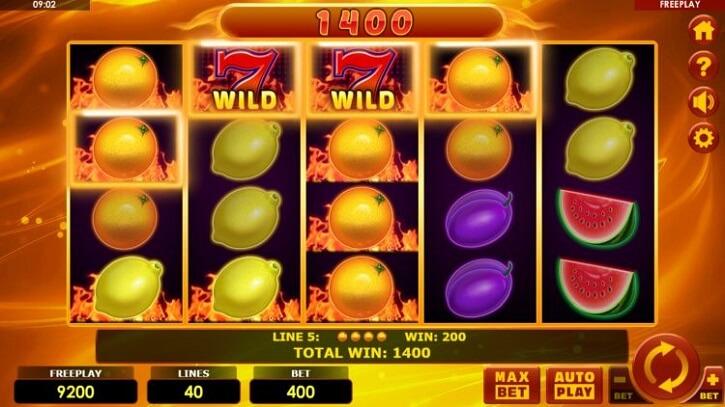 hottest fruits 40 slot screen