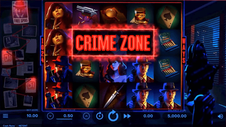 cash noire slot screen