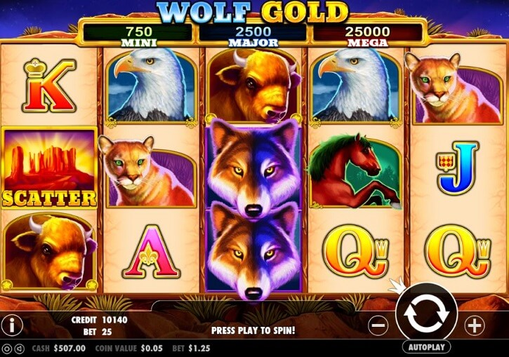 wolf gold slot screen