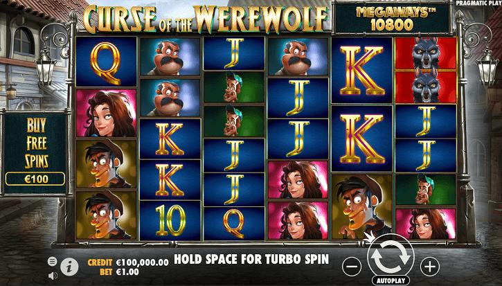 curse of the werewolf megaways slot screen