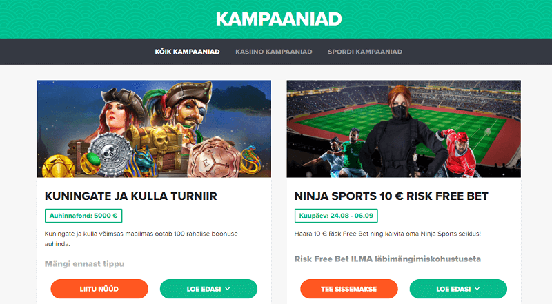 ninja casino sports kampaaniad