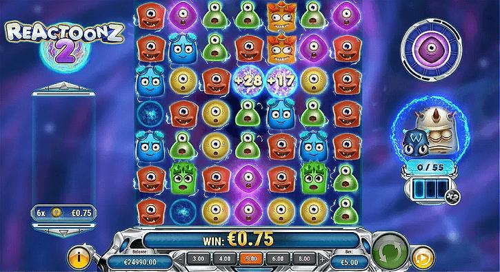 reactoonz 2 slot screen