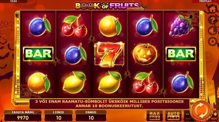 book of fruits halloween slot screen