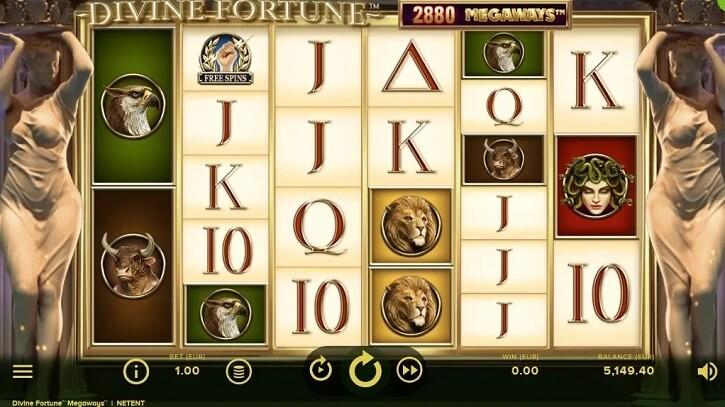 divine fortune megaways slot screen