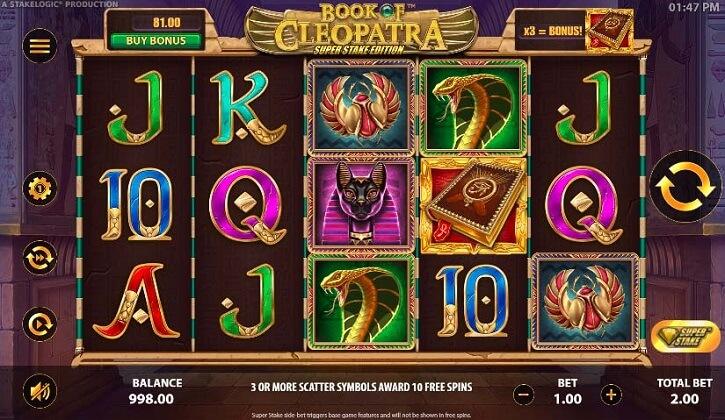 book of cleopatra slot screen