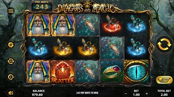 dragons and magic slot screen