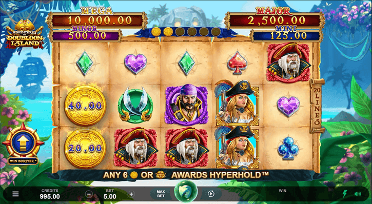 adventures of doubloon island slot screen