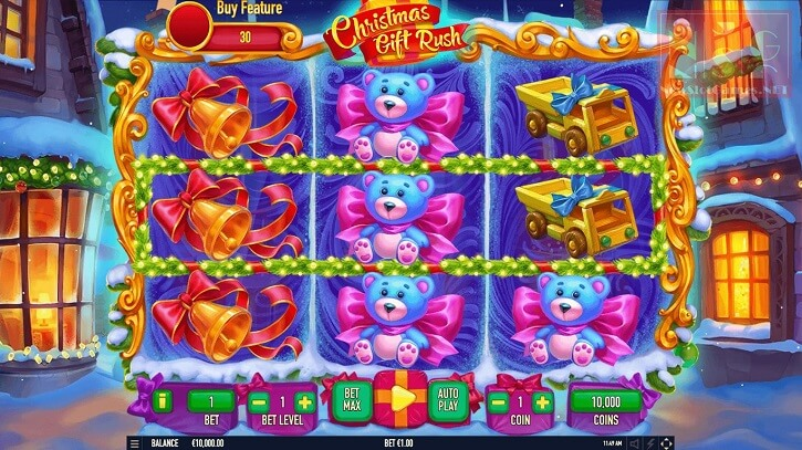 christmas gift rush slot screen