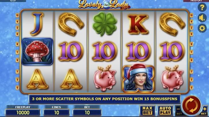 lovely lady xmas slot screen
