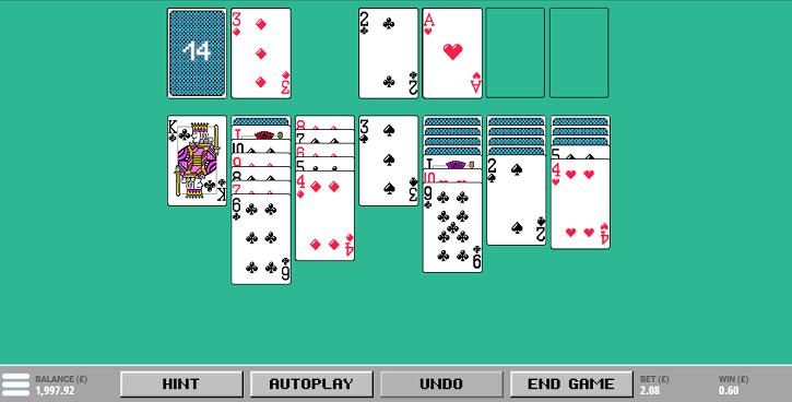 retro solitaire game screen