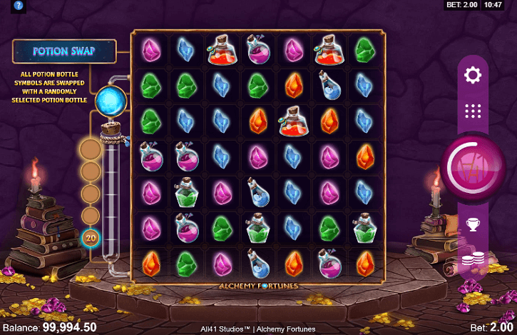 alchemy fortunes slot screen