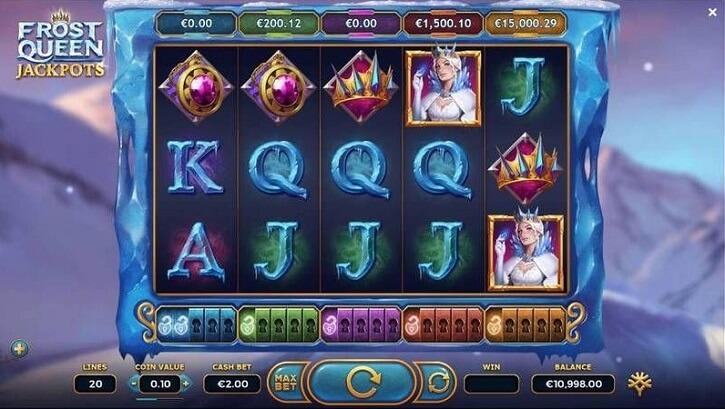 frost queen jackpots slot screen