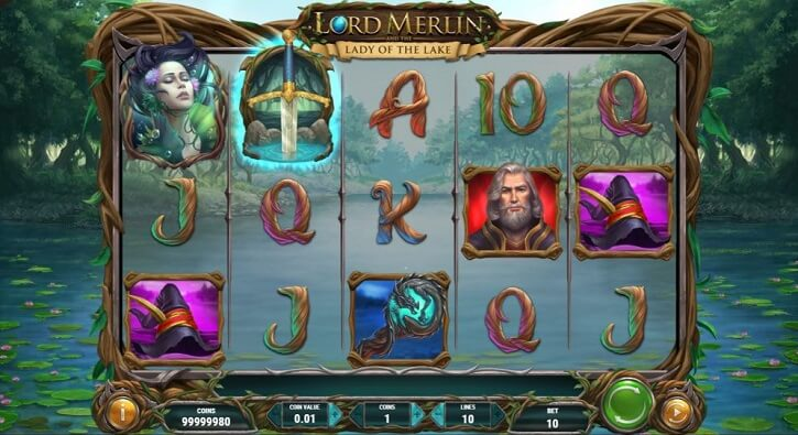 lord merlin and the lady of the lake slot screen